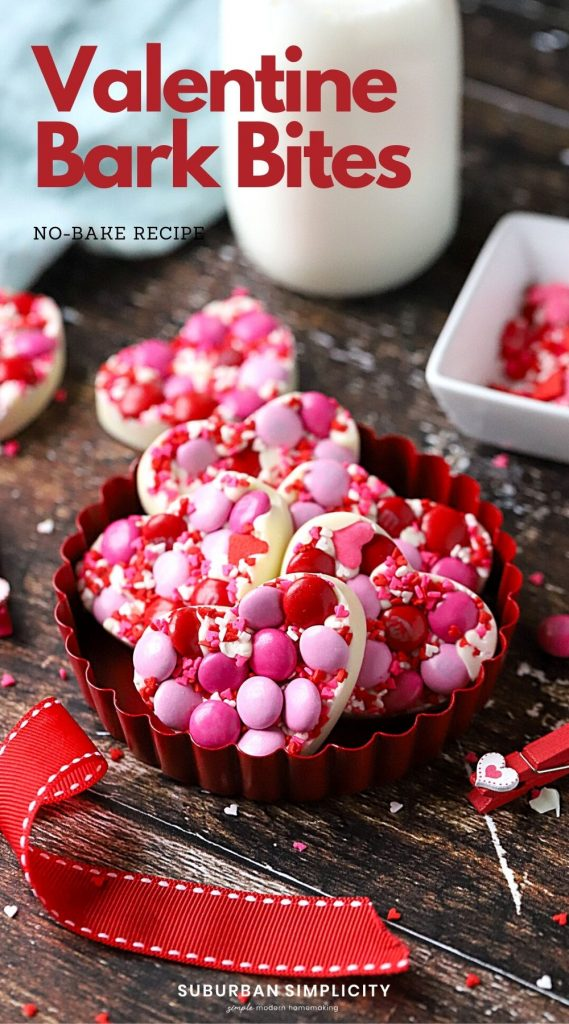 This heart-shaped dessert is the perfect Valentine's Day treat! Delicious Valentine White Chocolate Bark Bites are an easy no-bake recipe to celebrate the holiday.
