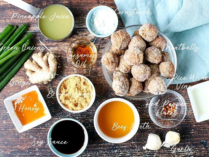 ingredients for teriyaki meatballs