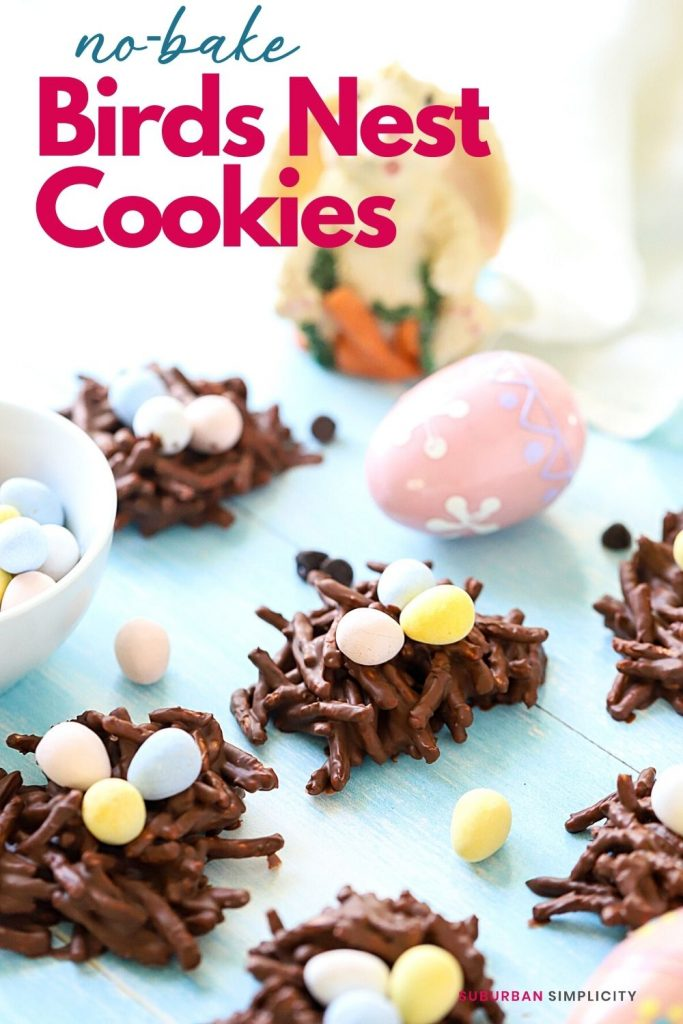 Try these fun No-Bake Birds Nest Cookies for an easy Easter dessert. Make them with melted chocolate and butterscotch, crunchy chow mein noodles, and top with candy eggs.