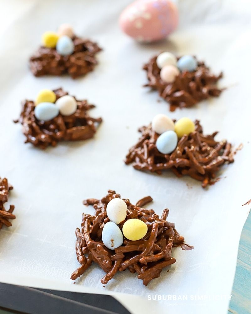 chocolate bird nests on a cookie sheet