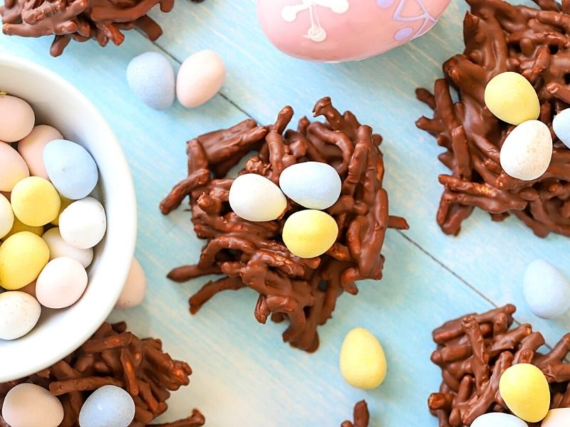 top down shot of easter nest cookies