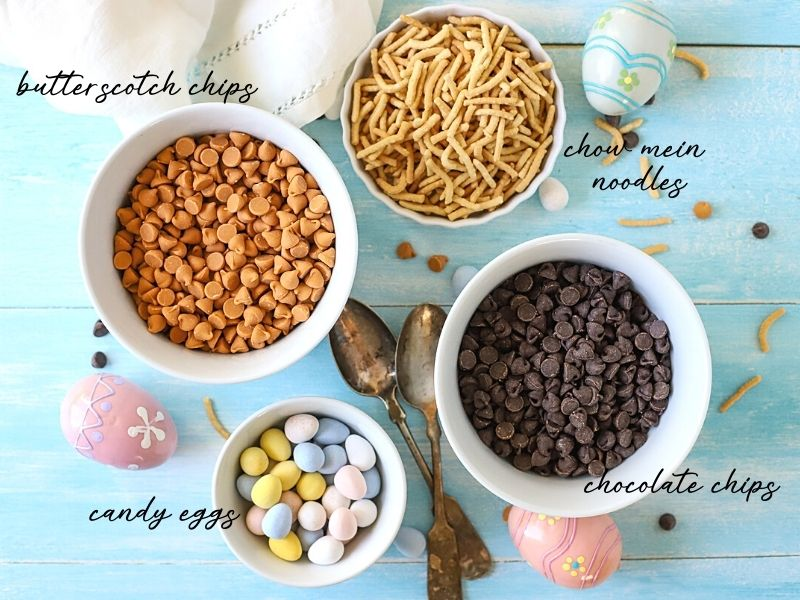 Ingredients for chocolate easter nests