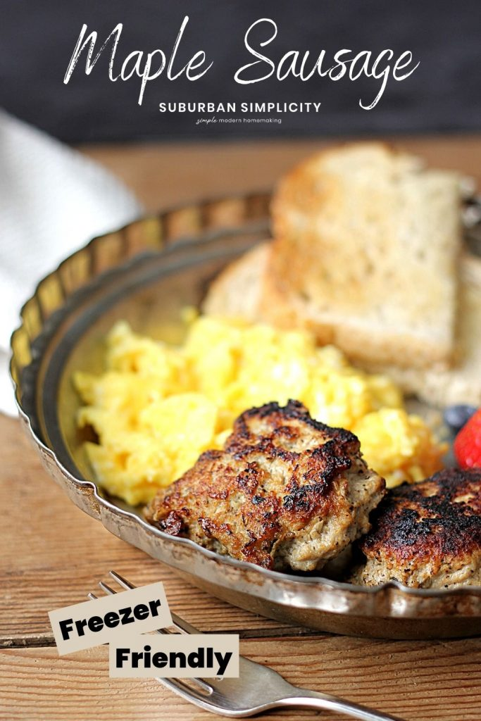 Maple breakfast sausage on a plate with eggs