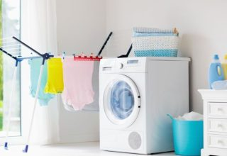 Washing machine with clothes outside