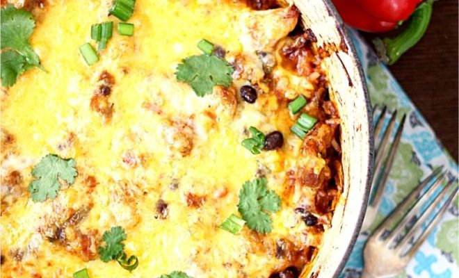 One pot healthy Mexican Chicken and Rice casserole