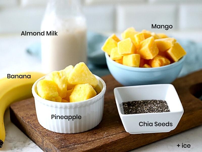 Ingredients for pineapple mango drink