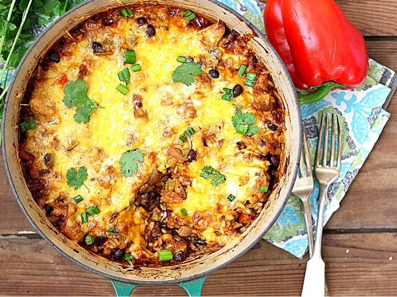 Mexican Chicken and Rice Casserole in a pot