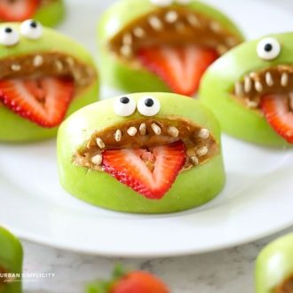 Apple Monster Mouths on a plate