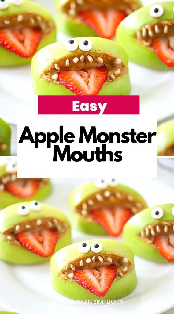 Apple Monster Mouths are one of the easiest and healthiest Halloween Treats to scare up a good time. With a few simple ingredients like apples, peanut butter, sunflower seeds, and strawberries, you have an adorable apple recipe to serve at your next party!