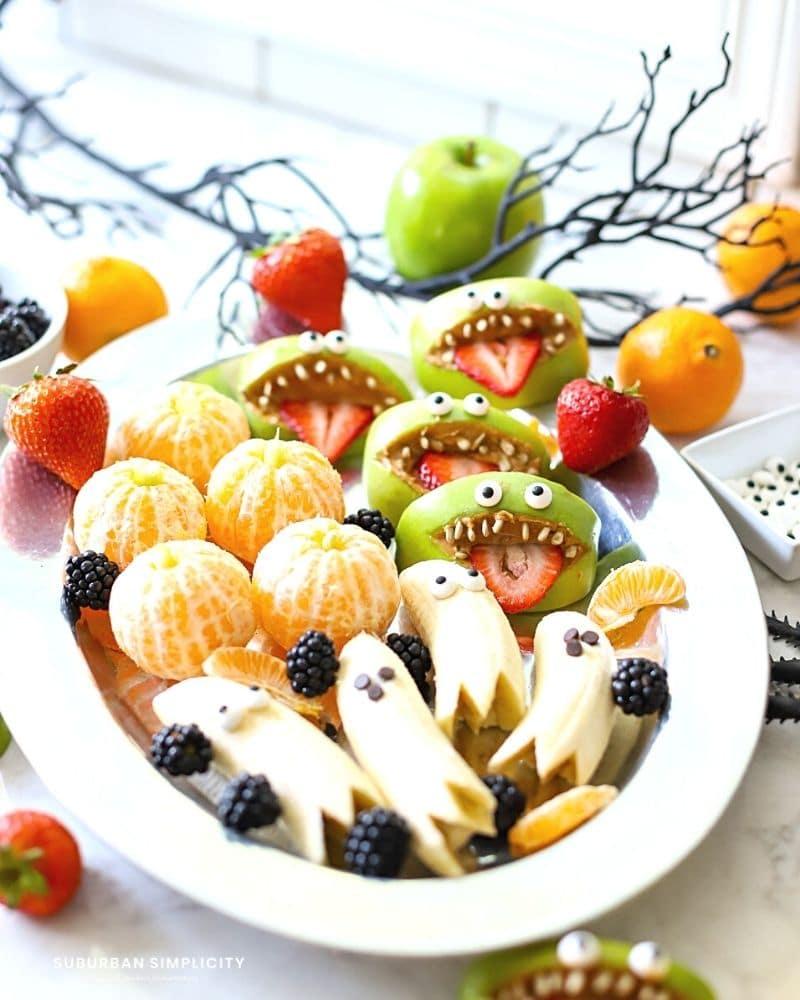 tray of healthy halloween treats