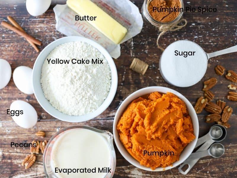 Ingredients for yellow cake mix pumpkin cake