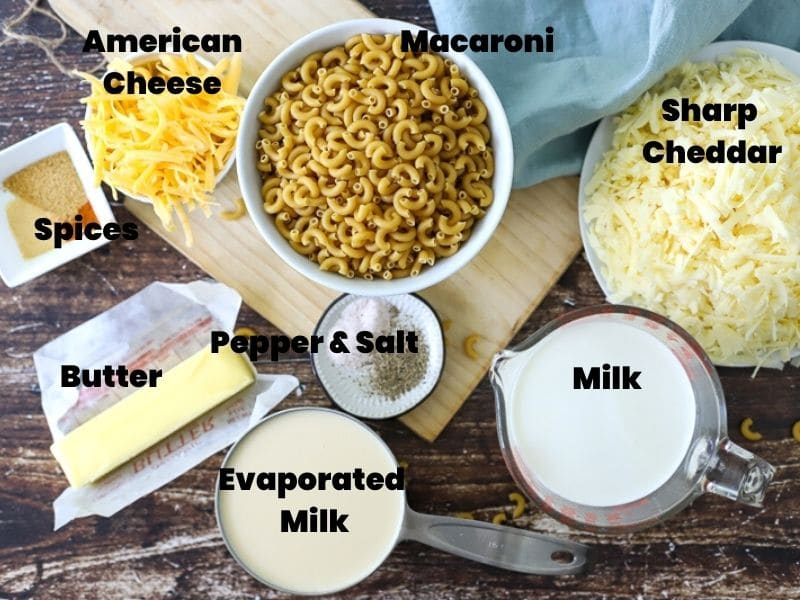 Ingredients for slow cooked mac and cheese